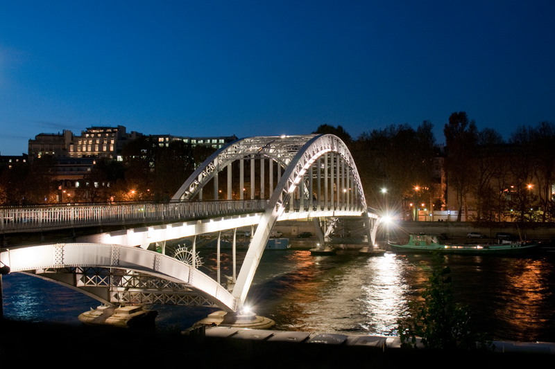 Frankrijk Parijs - Pont dausterlitz brug rivier de Seine avond