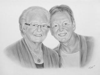 Potlood portret zussen portrettekenaar