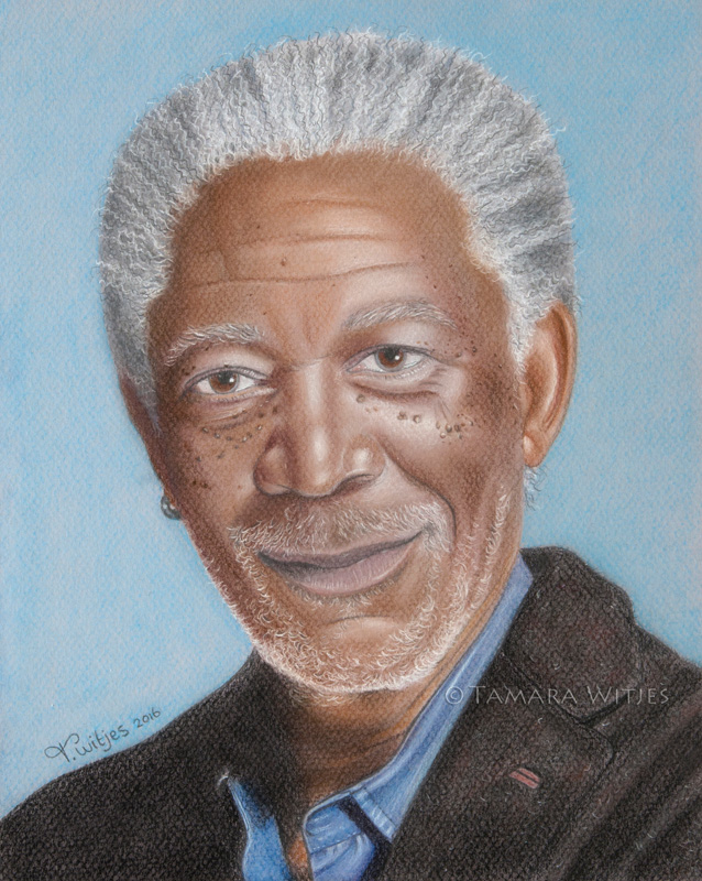 Pastelportret Morgan Freeman
