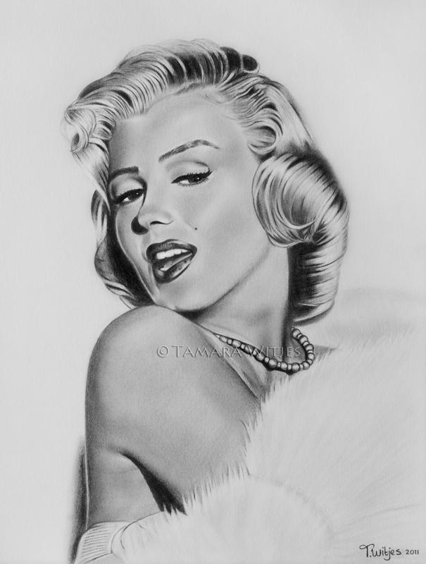 Potloodtekening Marilyn Monroe portrettekenaar