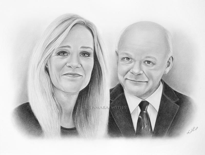 portrettekening vader en dochter