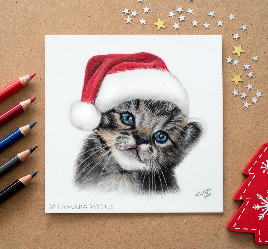kerst tekening kat
