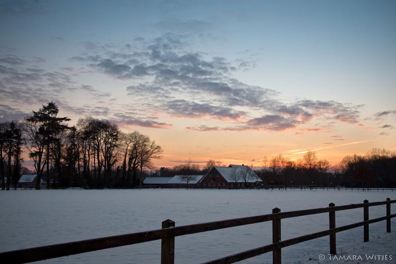 Winter Enschede zonsondergang